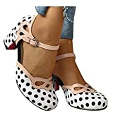 Hbeylia Women's Pump Ballet Flats Vintage Dot Round Toe Chunky High Heels Ankle Strap Dressy Shoes For Women Ladies Dress Wedding Banquet Evening Party