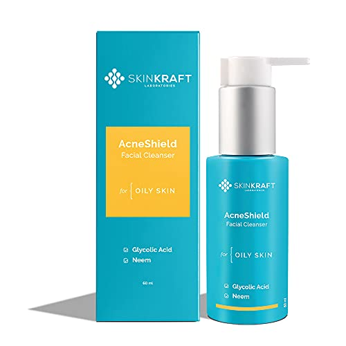 SkinKraft AcneShield Facial Cleanser – Customized Glycolic Acid & Neem Face Wash For Acne Prone Oily Skin – Removes Excess Sebum – Clears Clogged Pores – Reduces Acne Breakouts & Pimples – Dermatologist Approved – 60 ml