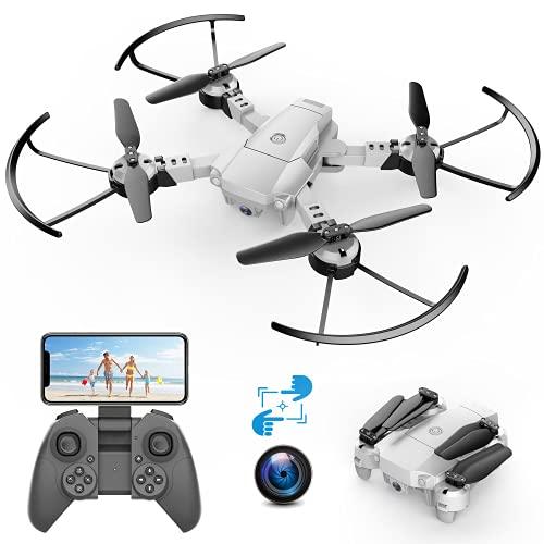 A10 720P Mini Drone con Telecamera HD Pieghevole FPV Controllo Vocale, Controllo Gesti, Volo Traiettoria, Volo Circolare, Rotazione ad Alta Velocità, 3D Filp, Sensore G, Modalità Senza Testa