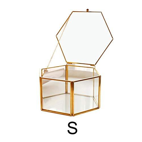 mooderff sieradenopbergdoos Nordic hexagonaal transparant bruiloft glas ring box versierde ring oorring doos glazen doos
