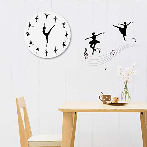Wandklok Ballerina Acrylic Mirror Wall Clock Modern Home Decoration Living Room Still Life Wall Clock Sticker Quartz Pin Watch