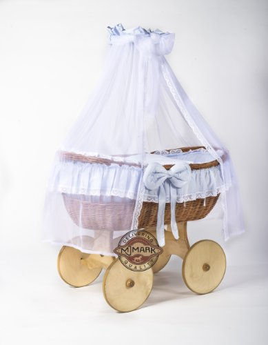 Ophelia Wicker Crib Cot (Moses Basket) Antique BLUE from MJmark