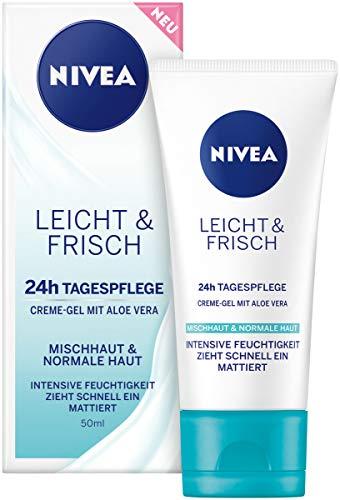 NIVEA Leicht & Frisch Tagespflege 24h Feuchtigkeit (50 ml), Creme-Gel für normale und Mischhaut, Gesichtspflege mit natürlicher Aloe Vera, Mineralien & Antioxidans