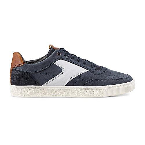 Cox Herren Freizeitschuhe, Blaue Leder Sneakers im sportlichen Design mit gummierter Laufsohle Blau Leder 42