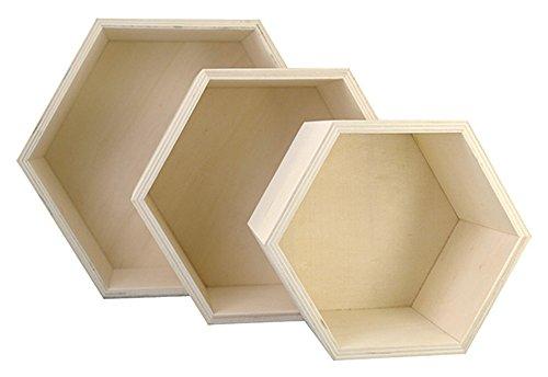 Kreul 45154 - Holzboxen 3er Set in Wabenform, je 1 Stück ca. 14,8 x 14,8 x 10 cm, ca. 19 x 19 x 10 cm und ca. 24,2 x 24,2 x 10 cm, unbehandelt, zum Verzieren mit verschiedenen Techniken und Farben
