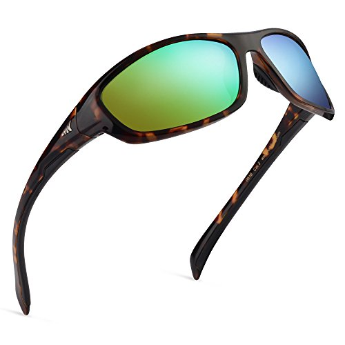 KastKing Hiwassee Polarized Sport Sunglasses for Men and Women, Gloss Demi Frame,Brown Chartreuse Mirror