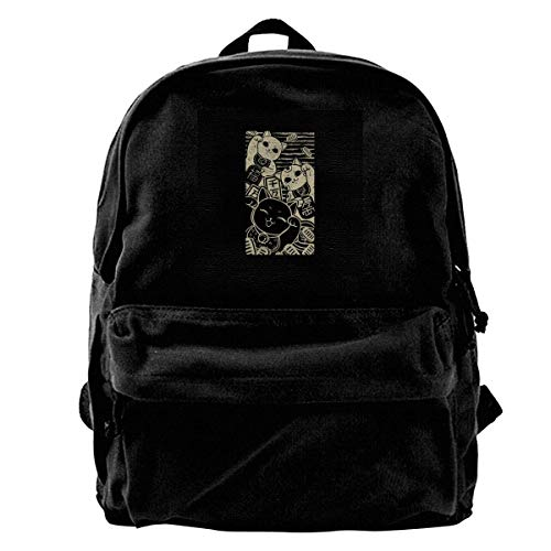 zhanghaichangT Canvas Backpack Wish Me Luck Maneki Neko Rucksack Gym Hiking Laptop Shoulder Bag Daypack for Men Women