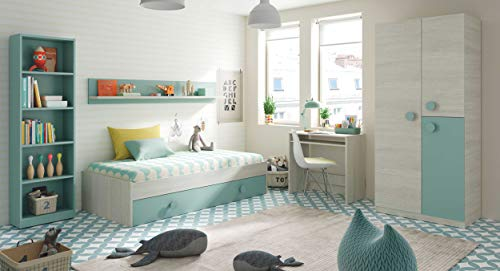 Miroytengo Pack habitacion Juvenil Verde Blanco Alpes Completo Infantil (Cama Nido+Estante+Armario+Escritorio+estanteria) con SOMIERES