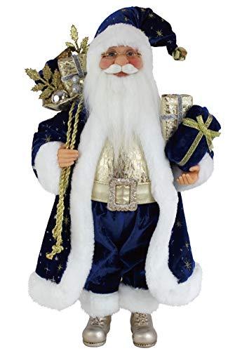 "16"" Inch Standing Blue & Gold Santa Claus Christmas Figurine Figure Decoration 169480"