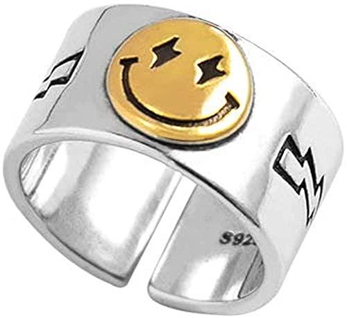 ADIS Anillo de cara sonriente de plata anillos abiertos ajustables anillo de nudillo ancho sonriente feliz anillos de oro mujeres joyas anillos