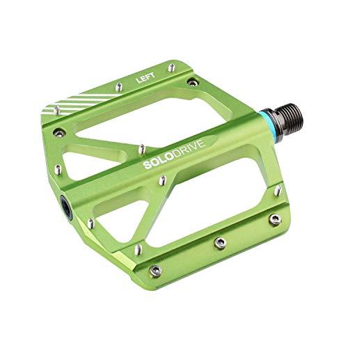 SOLODRIVE Pedales planos para bicicleta de montaña, pedales de bicicleta de montaña ultrafinos de aleación de aluminio, pedales de plataforma de 9/16 pulgadas, ultraligeros y amplios (verde)