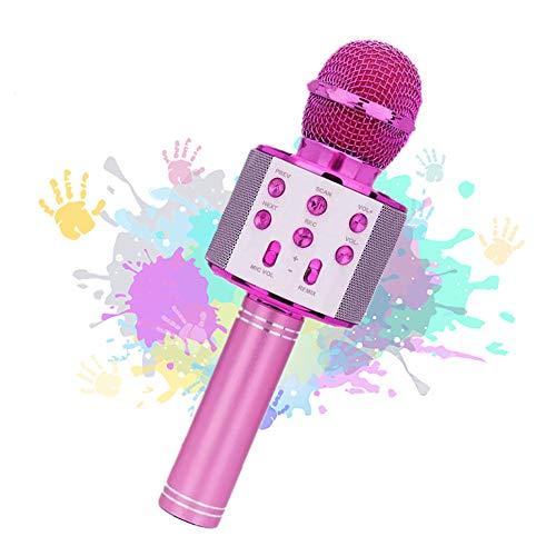 Rigrer Micrófono Inalámbrico Karaoke Bluetooth,Micrófono Karaoke Portátil para KTV,Cantar,Grabación,Karaoke Player Micrófono con 2 Altavoces Incorporados, Compatible con PC-Rosado