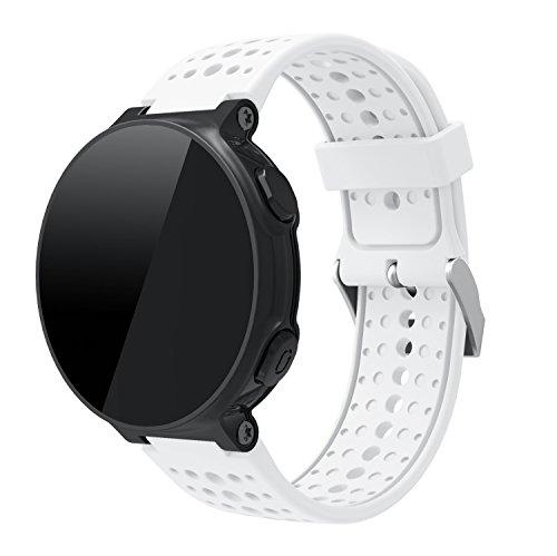 TopTen Correa de reloj compatible con Garmin Forerunner 220/230/235/620/630 GPS para correr, pulsera deportiva de silicona, accesorios de repuesto, correa de muñeca ajustable (blanco)