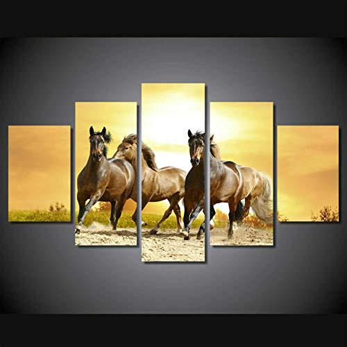 DBFHC Cuadros Modernos Impresión De Imagen Artística Digitalizada Animales Caballos Salvajes Lienzo Decorativo para Salón O Dormitorio 5 Piezas XXL