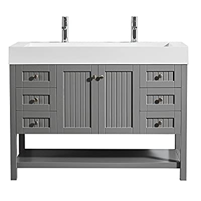 "Vinnova 755048-GR-WH-NM Pavia 48"" Single Vanity in Grey with Acrylic Under-Mount Sink Without Mirror"