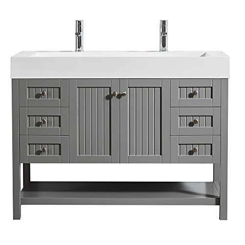 """Vinnova 755048-GR-WH-NM Pavia 48"""" Single Vanity in Grey with Acrylic Under-Mount Sink Without Mirror"""