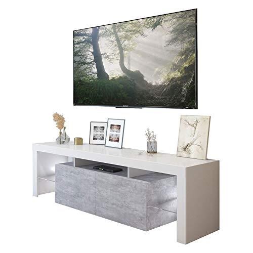 LUK Furniture COLGANTE Plus Beton TV-Schrank Hängeschrank Weiß Hochglanz Weiß Matt HG Fernsehschrank mit LED Beleuchtung und Push to Open System TV- Bank Sideboard Lowboard Wohnwand Wohnzimmer