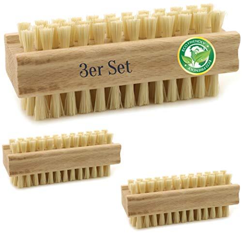 3er Sparset Nagelbürste Handbürste für Bad und Haushalt | robuste Naturborsten | Ergonomisch griffige Bürste aus unbehandeltem Buchenholz | Fingerbürste für Kinder | Reinigt Hände Fingernägel