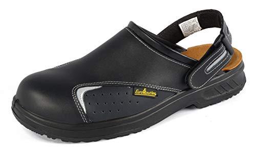 Euroroutier Basic Black, Zuecos Zapatos de Seguridad de Cuero Certificado CE EN ISO SB+A+E+FO+Sra (42)
