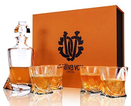 calliva von Whisky Karaffe und Gläser Set, 800 ml Whiskey Dekanter mit 4 Bleifrei Kristall Gläser 300 ml, Prächtige Geschenkbox, 5-teiliges