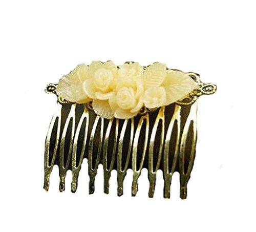 Style classique Peigne Décor Métal jaune Fleur cheveux Chic Peigne
