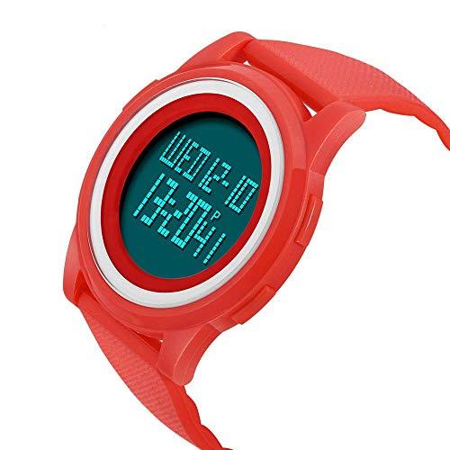 AYDQC Impermeable del Reloj del Reloj de Manera Reloj Llevado cronógrafo Reloj electrónico de los Hombres de múltiples Funciones de Deportes de los Hombres fengong (Color : Red)