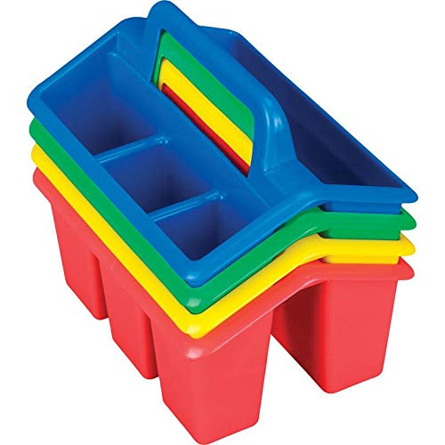 Really Good Stuff Four-Compartment Caddies (Set of 4) – Primary Colors – Perfect To Color-Code Tables, Group Work – Durable with Built-In Handles – Also great for home organization - Stackable for Easy Storage