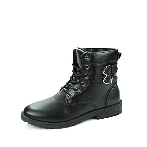JiuRui Business & Casual Oxfords Ankle Boots for Männer, runde Zehe schnüren Sich Oben Kunstleder High Top Solid Color Stiefel, Stich Dual-Schnalle Straps Anti-Rutsch-Stiefel