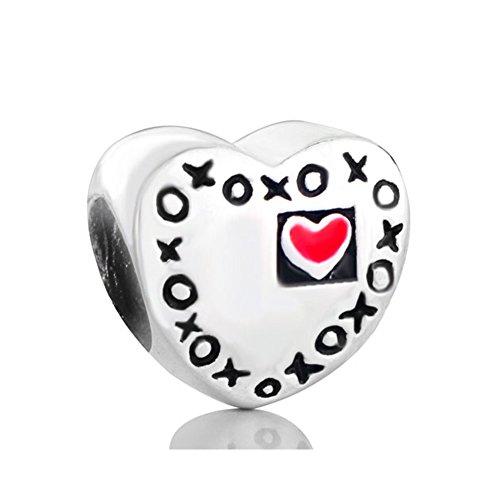 LovelyCharms - Abalorios de plata de ley 925 con forma de corazón y texto en inglés 'Kisses Xoxo', para pulseras