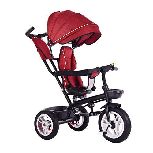 Triciclo Evolutivo Toral Triciclo triciclo triciclo de triciclo, triciclo para niños de 4 en 1 para niños con sombrilla, 1-6 años de edad, triciclo al aire libre, titanio, rueda vacía, 2 colores, 90x7