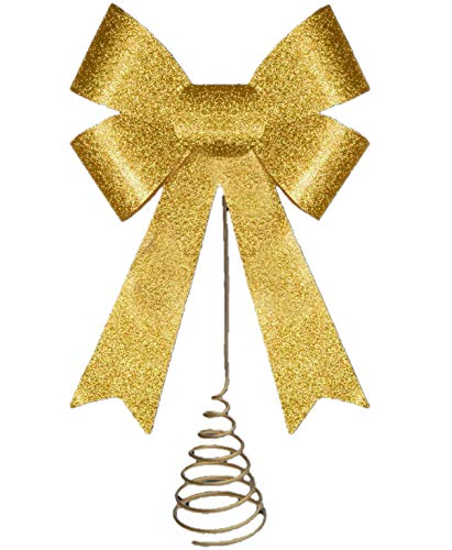 Toyland 14 Inch Christmas Tree Top Decoration - GOLD Glitter Bow Tree Topper