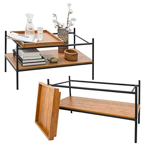 DuneDesign Vintage Couchtisch mit Holz Tablett - 90x44 Wohnzimmertisch - Metall Tisch Beistelltisch