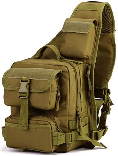 DCCN Sling Rucksack Schulterrucksack Tactical Sling Bag Brusttasche MOLLE Daypack Crossbag mit Verstellbarem Schultergurt für Wandern Radfahren Reisen Brown