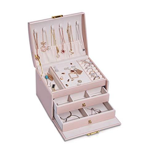 PROJEWE Joyero Caja de Almacenamiento de Joyas Puesto de Joyería Caja de Joyería Titular de Pendiente Organizador de Joyas para Anillos Pendientes Collar Pulseras