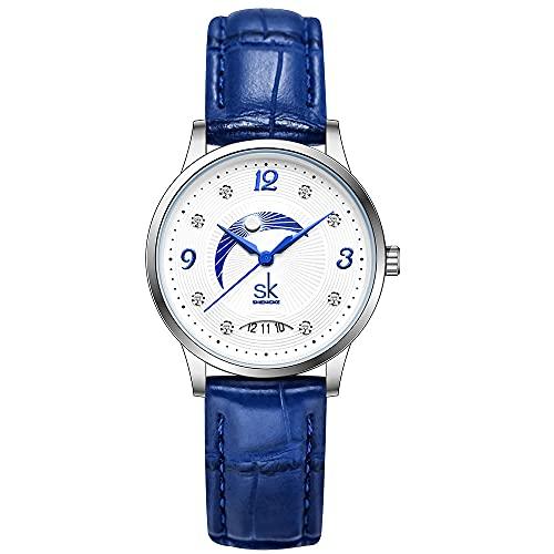 SK Relojes lassic Business para Mujer con Correa de Acero Inoxidable y Elegante Reloj con Calendario para Mujer (Blue Moon)
