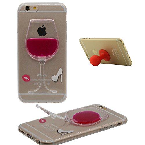 iPhone 6 Plus Funda iPhone 6S Plus Cacarsa Copa del Vino Forma Transparente TPU Blando Gel Líquido Agua Kickstand Diseño Case para Apple iPhone 6 Plus 6S Plus 5.5' con 1 Silicona Poseedor