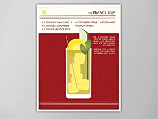 Pimms Cup Art Print, Retro Food and Drink Poster, Vintage Style Graphic Art, Mid Century Modern Design Poster, Cocktail Poster, Pimms Cup