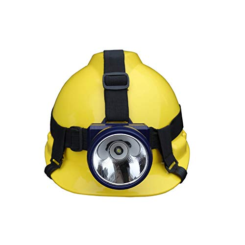 QL Casco de minero Ajustable con luz LED, suspensión de trinquete de Cuatro Puntos, Casco de ventilación con protección para la Cabeza, Casco Protector Duradero
