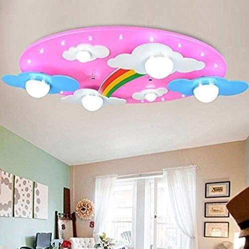 Office kroonluchter Wolken Rainbow Nursery Belichting LED Plafond Light for Boys and Girls Bedroom Lamp Onderzoek kamer kroonluchter (Color : Pink)