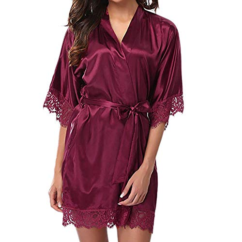 MERICAL Lace Sexy Lady Sleepwear Raso da Notte della Biancheria Pigiami Vestito delle Donne(Vino,M)