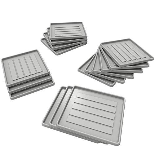 Storex School Locker - Office Cubicle Boot Tray, 12.38 x 11 x 0.8 Inches, Gray, 18-Pack (00803U18C)