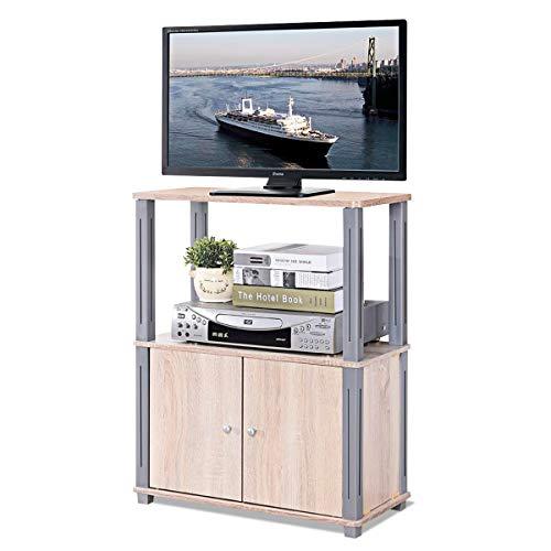 COSTWAY Fernsehtisch, TV Möbel Regal Tisch Schrank, Fernsehschrank, Sideboard für Schlafzimmer, Wohnzimmer (Hellbraun)