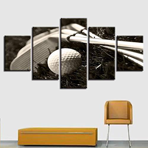 HOMOPK 5 canvas afbeelding afbeelding golfclub golfbal-zwart-wit 5-delig muurschildering achtergrond schilderen behang druk poster keuken decor poster gift 20x35cmx2 20x45cmx2 20x55cmx1 frame.