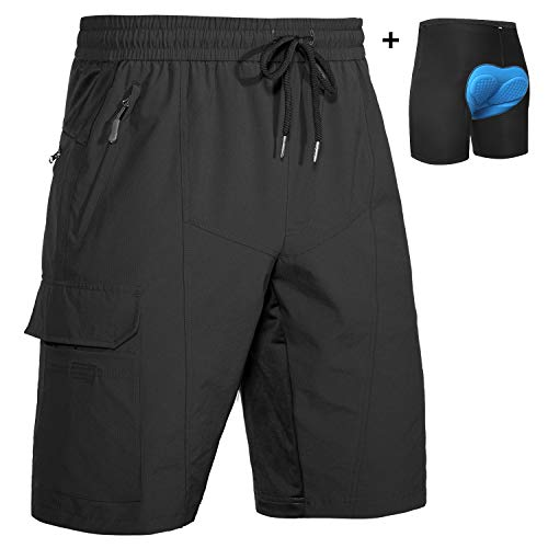 Wespornow Men's-MTB-Mountain-Bike-Cycling-Shorts, Baggy-Breathable-Bike-Shorts with Pockets (Black with Pad, L)