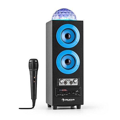 AUNA DiscoStar Blue - Altavoces Bluetooth 2.1, Luces LED, FM, MP3, SD USB, Mini USB, AUX, Micrófono, Control de Volumen, Mando, Asas, Batería portátil, Azul