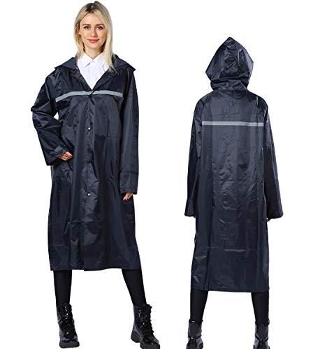 Panegy Rainwear Erwachsene Regenmantel Lang Regenponcho mit Kapuze Wiederverwendbar Schnelltrocknend Regencape Navy - Größe XL