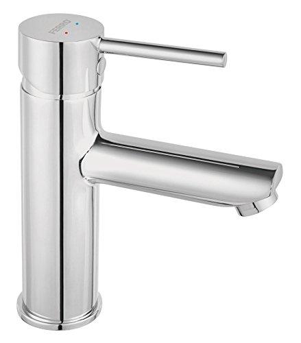 –Grifo de lavabo de diseño forma redonda monomando cromo brillante con Push Open Válvula