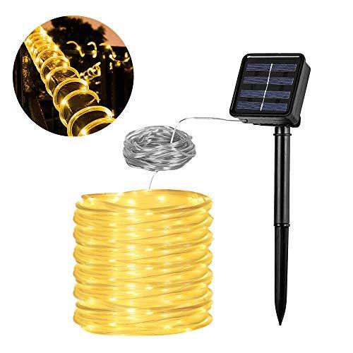 Solar Lichtschlauch Lichterkette, Vegena 12 M 100 LED 8 Modi Wasserdicht IP65 lichtschlauch außen für Garten,Party,Hochzeit, Pavillon und Weihnachten Warmweiß