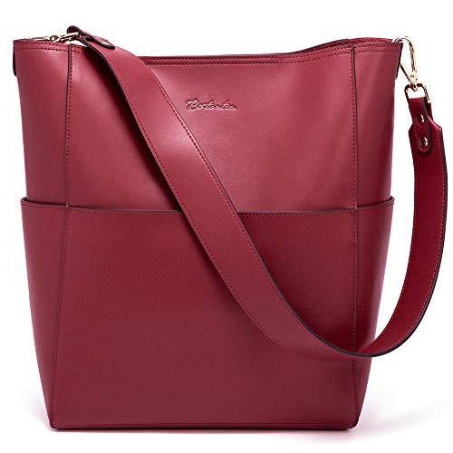BOSTANTEN Women's Leather Designer Handbags Tote Purses Shoulder Bucket Bags Wine Red