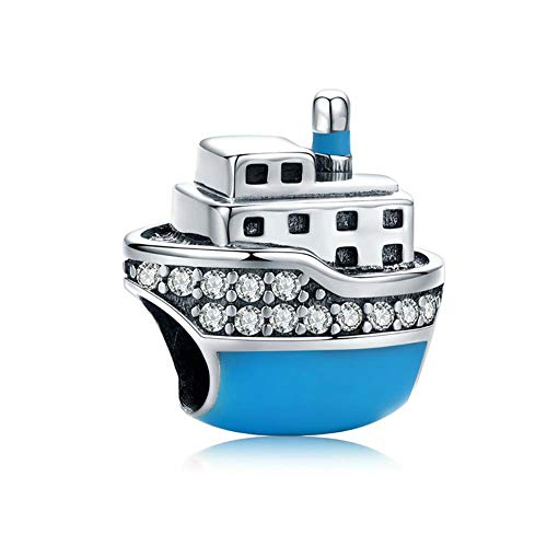 Bead 925 Sterling Silber Charm DIY Kreuzfahrtschiff/Heißluftballon/Kamel/Auto/Gepäck Armband Charm Dangle für Frauen Mädchen Halskette & Armbänder,E